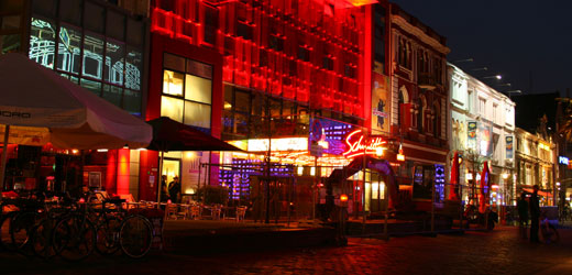 The colorful red light district of Hamburg